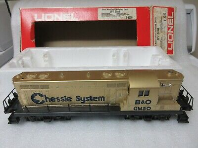 MODEL RR - LIONEL O GENERAL MOTORS SPECIAL ANNIVERSARY CHESSIE GP-7 DIESEL GOLD for sale  Shipping to India