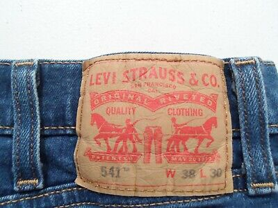 Levis 541 Men's Jeans Size 38x30 Navy Blue Stretch Denim Athletic Fit Red Tab