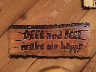 Laser Engraved Tree Log Slice Rustic Beer Deer Hunting Man Cave Sign Wood Decor