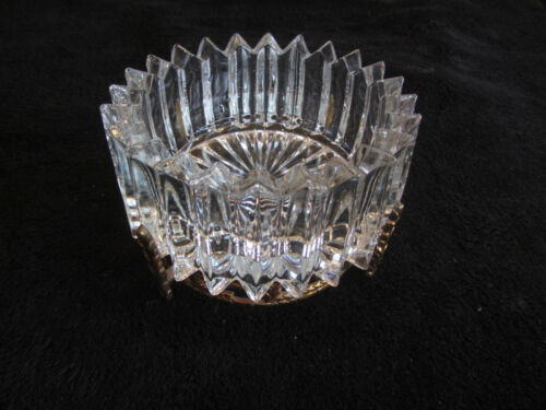 """Vintage Large Crystal Bowl 5"""" With Ornate Brass Base Compote Heavy Ashtray"""