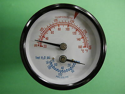 1 12 Tridicator Boiler Gauge Temperature 60-320 F Pressure 0-75 Psi Also 4cfc6