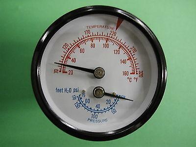 3 Tridicator Boiler Gauge Temperature 60-320 F Pressure 0-75 Psi 2 12 Face