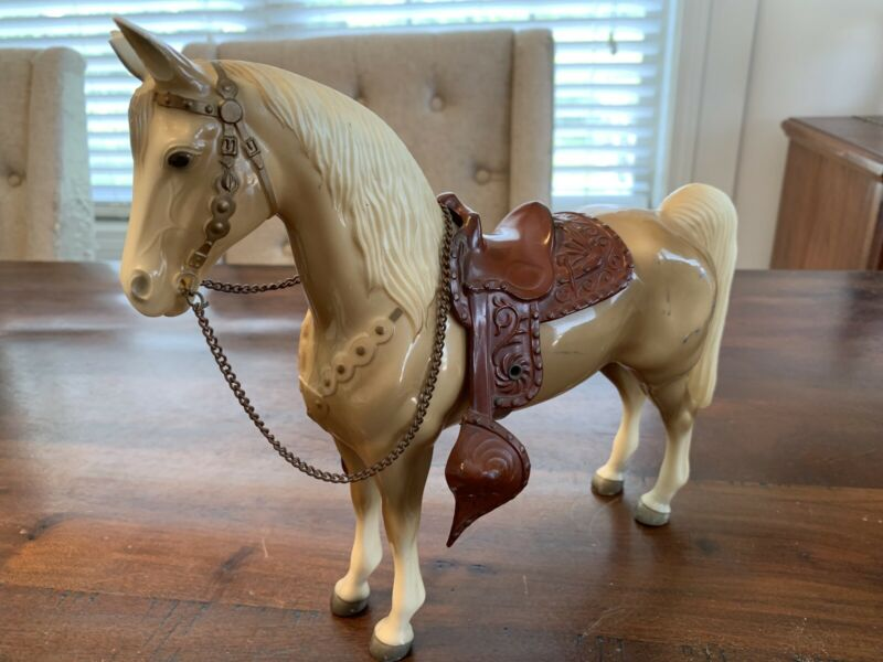 "Vintage 1960's-1970's Palomino Horse 10"" Figure Hard Plastic W Tack! Glossy RARE"