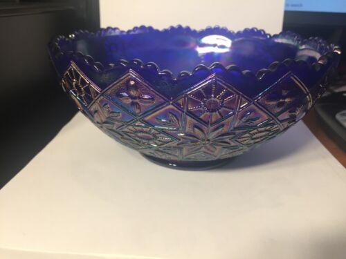 Vintage RARE!! Imperial Cobalt Blue Aurora Jewels Hattie Pattern Carnival Glass
