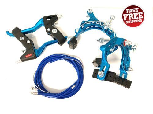 Blue BMX MX Front and Rear Bike Bicycle Brake Kit Caliper Brake w/ Lever.