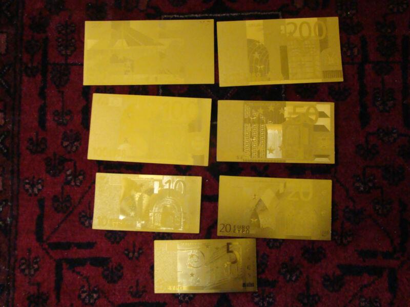EURO CURRENCY GOLD SET Bank Note 24KT GOLD FOIL 7 BILLS SET 5 - 500 EUROS