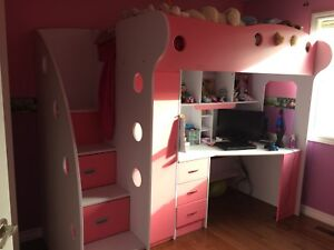 Pink&White bunk bed desk combo