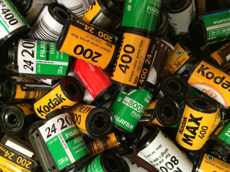 Lot of 25 Empty Assorted 35mm film canisters/cassettes/cartridges Fuji, Kodak