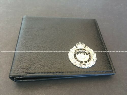 Royal Hong Kong Police Bi-fold Leather Wallet with p.t.u.silver badge, black