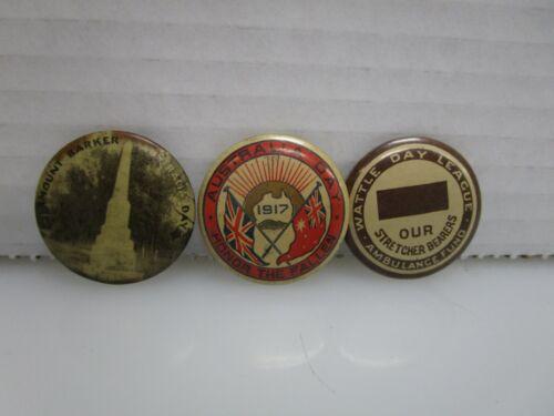 Lot of 3 Antique World War 1 WWI Era Australian Pin Back Buttons (CI)