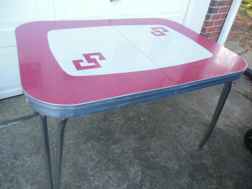 Vintage 50s Retro Mid Century Deco Formica Red Grey Dining Kitchen Table Chrome