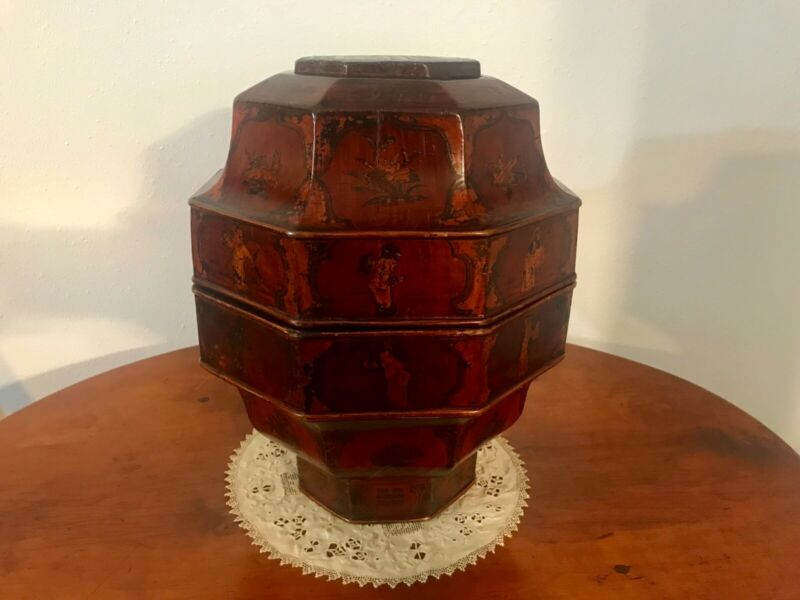 19th Century Chinese Octagonal Lacquered Tea Caddy / Food Container – Very Large
