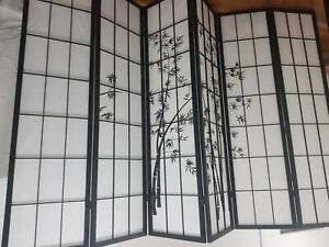 6 Panel Privacy Room Divider /Office Partition Screen Wooden Fold