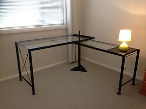 Glass and Steel Desk with Return Richmond Hawkesbury Area Preview
