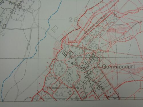 WW1 (1916) BATTLE of The SOMME era Trench Map (GOMMECOURT SALIENT etc)
