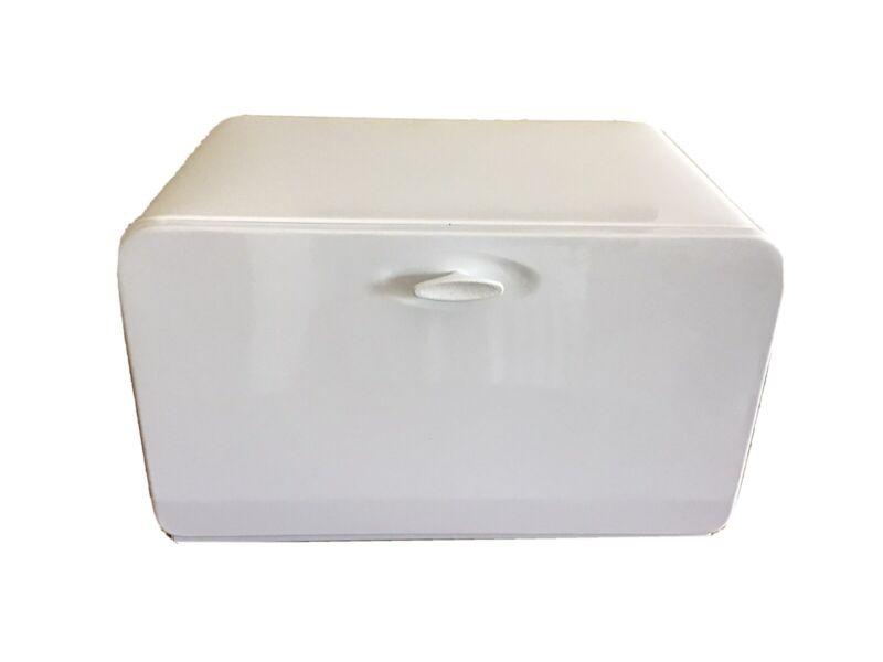 Vintage KCO Canada Bread Box White Metal Drop Door Interior Shelf Enamelware