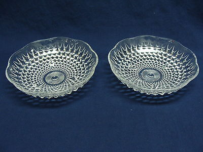 Anchor Hocking Hobnail 3Toe Footed 2 Salad Berry Cereal Dish Bowls Clear Glass