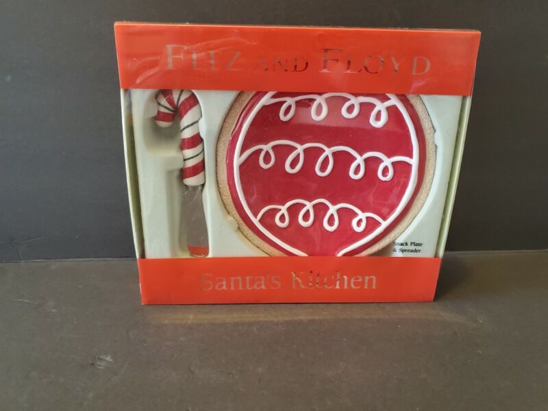 NIB Fitz & Floyd Christmas Snack Plate and Spreader Santa