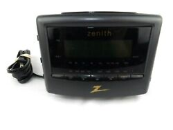 Zenith AM/FM Radio Dual Alarm Clock Black # Z124B Bedside Night Stand Back-Up