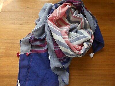 Pero by Aneeth Arora Navy & Red Khadi Cotton Silk Tassel Scarf w/ Dust Bag