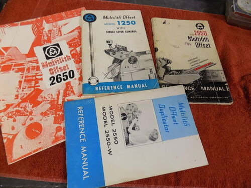 4 Original Multilith offset 1250 & 2650 Reference Manual books