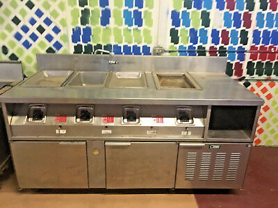 Stainless Steel Food Warming Prep Table With Refrigerated Cabinets