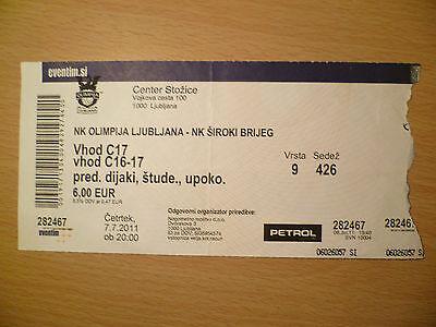 Ticket: 7 JULY 2011- OLIMPIJA LJUBLJANA v SIROKIBRIJEG