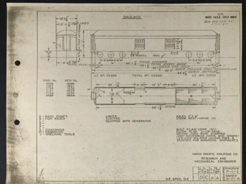 Vintage Union Pacific Railroad Passenger Equipment Diagram 1921 Baggage Car