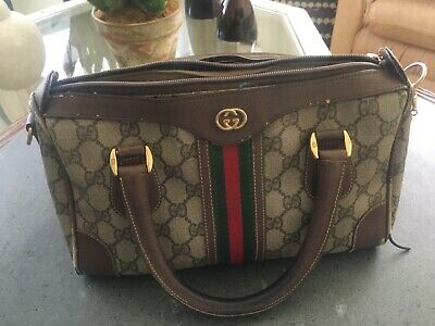 *NO RESERVE* Vintage Gucci Handbag Monogram Bag Beige Tan