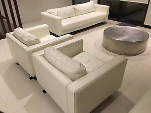 Freedom / Bay Republic White Leather Lounge Suite, Ottoman, Table Little Bay Eastern Suburbs Preview