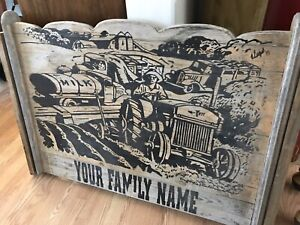 Very nice family Farm wood sign. Dairy tractor welcome signs