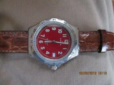 Edox Delfin Vintage Quartz Watch Red Dial - Working