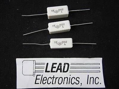 Qty 3 Resistor 5 Watt Cermet Wirewound Flameproof 40 Ohm 5 Axial Lead