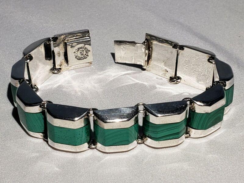 Vintage 925 Taxco Malachite Panel Bracelet  Mexico Sterling Modernist