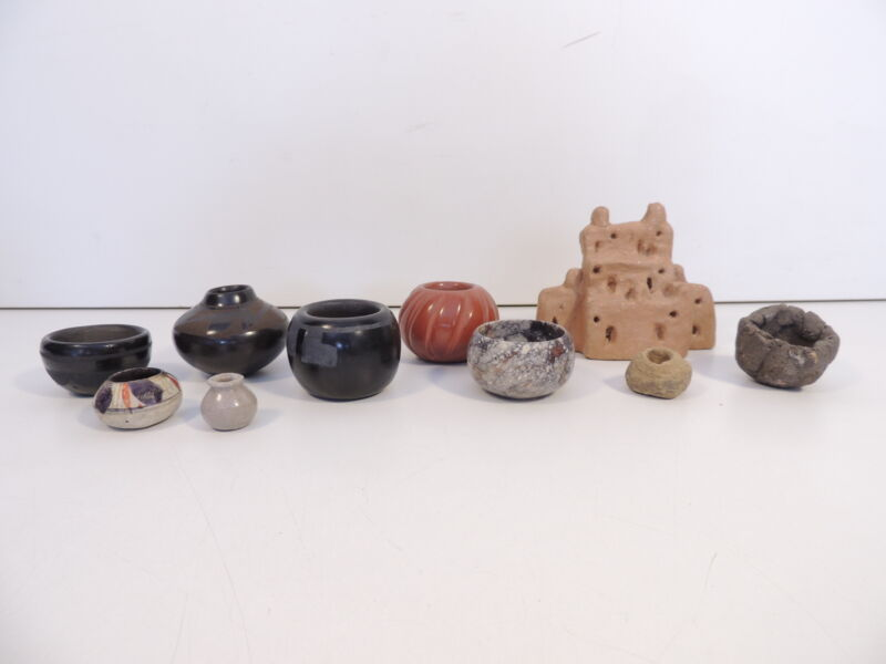 Lot 10 Taos Pueblo Native American Pottery Bowl Small Pots Assorted Building