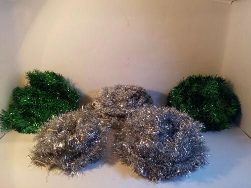 VINTAGE Metallic Silver & Green Tinsel Garland - YOU CHOOSE - Total of 77.5