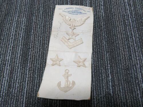 Rare 1800s US Navy Embroidered Swiss Rank Emblems On Original Card S530