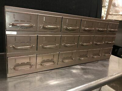 Vtg Equipto 18 Drawer Industrial Metal Small Parts Cabinet 34w X11d X 13-12h