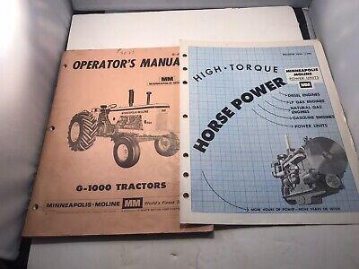 Minneapolis Moline G-1000 Operators Manual And High Horse Power Brochure