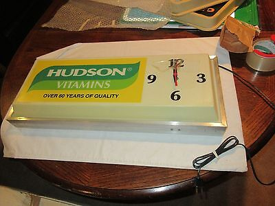 Hudson Vitamins , Electric Clock , New In Box ,  Wall or Ceiling Hang , 1980