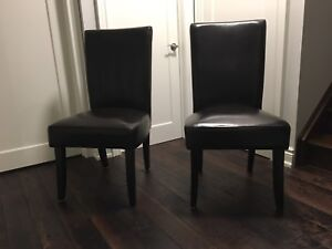 2 expresso  leather dining chairs