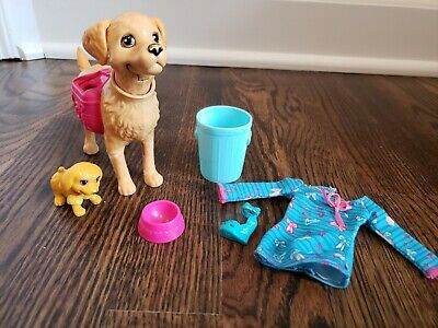 Barbie Potty Training Taffy Dog and Accessories Food Bowl Puppy Trash Can