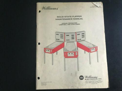 Williams Solid State 1979 Pinball Machine Maintenance Manual