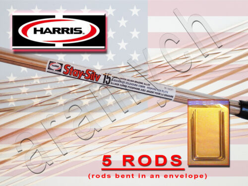 5 RODS Brazing Rods Harris Stay-Silv 15% Soldering Rods BCuP-5