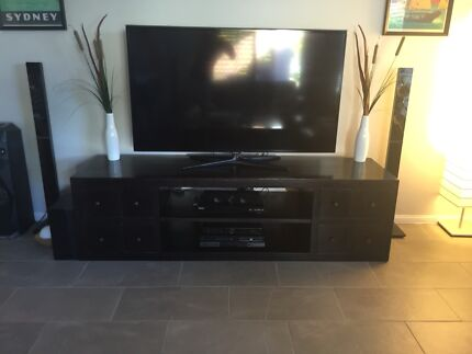 TV wall unit- pine with rosewood stain   Entertainment & TV Units ...