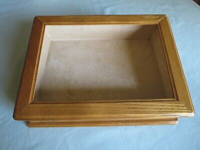Oak Glass Display Box Case Jewelry Presentation Trinket Storage Collectibles