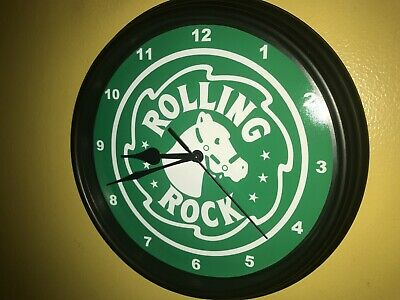 Rolling Rock Beer Bar Advertising Man Cave Wall Clock Sign