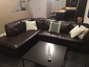 Brown leather Section couch