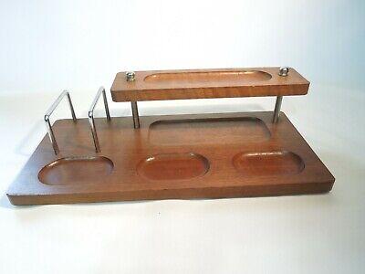 Vintage Walnut Wood Desk Organizer 2 Levels 13 X 6 Made In Taiwan