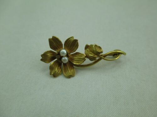 Antique Vintage 10K Gold Seed Pearl Flower Brooch Pin Yellow 396E